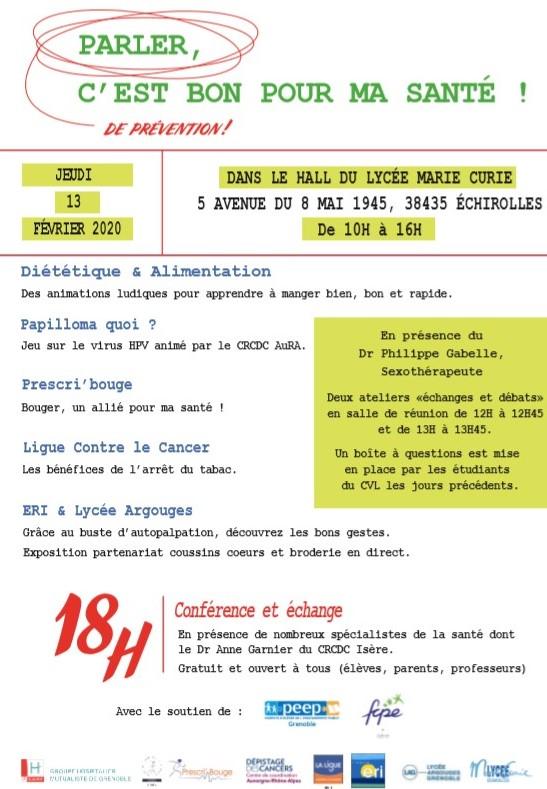Journée Prévention Lycée Marie Curie Echirolles