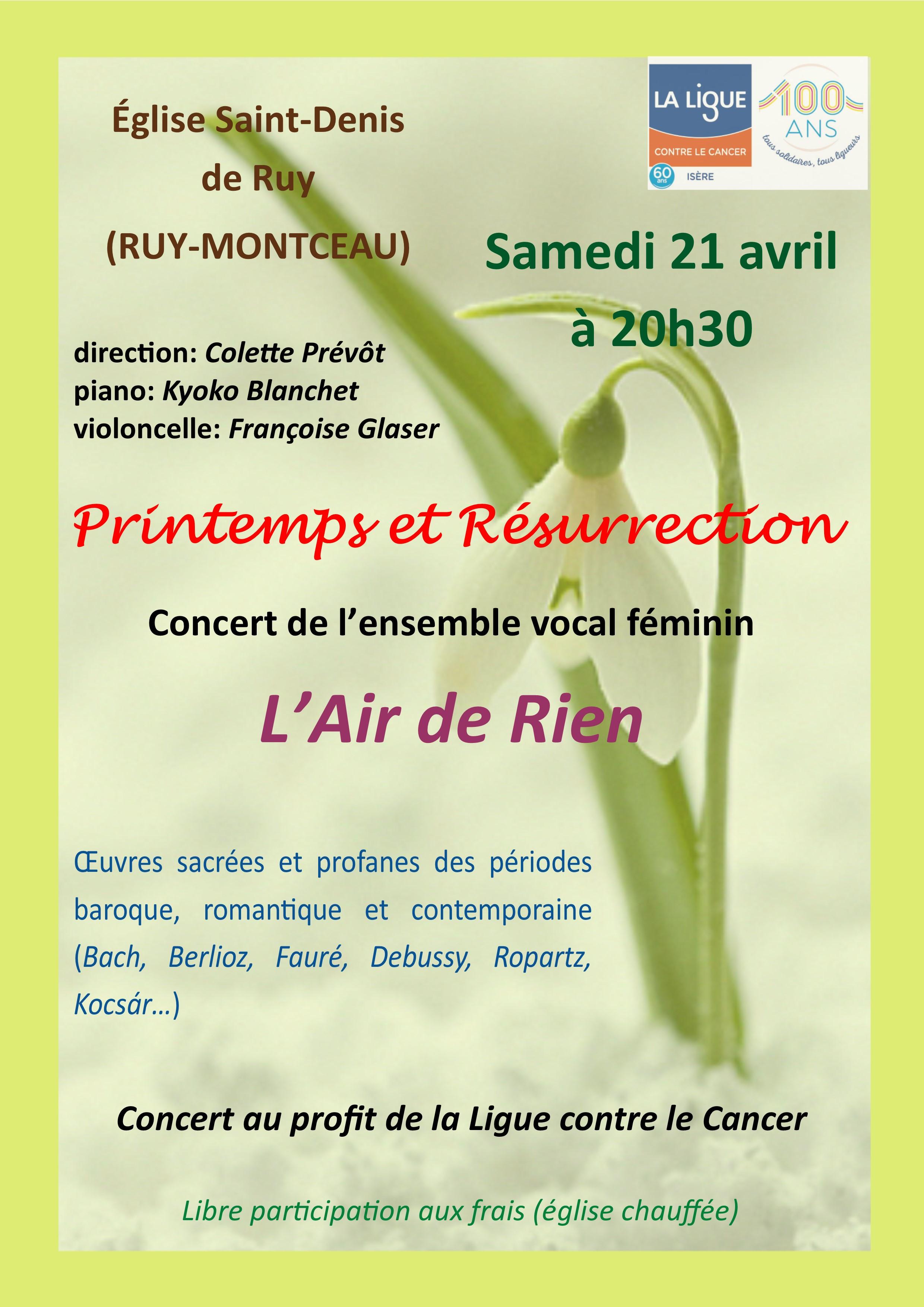 Concert Ruy Montceau samedi 21 avril 2018