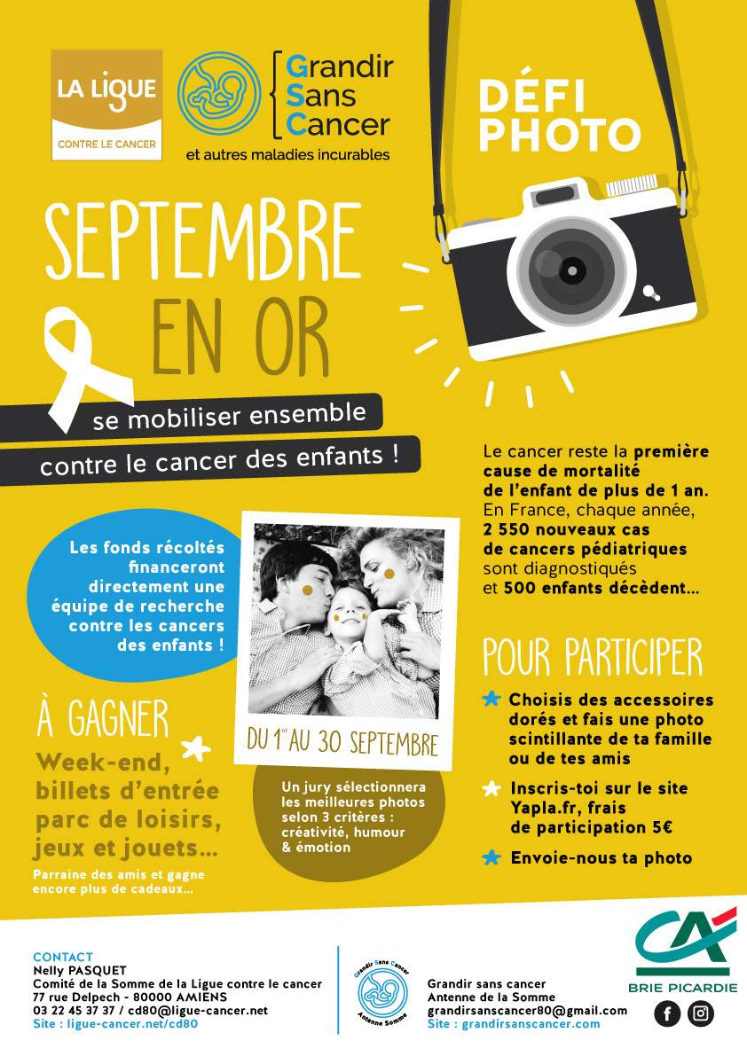 Fais briller ta famille pour Septembre en Or et lutte contre le cancer des enfants !