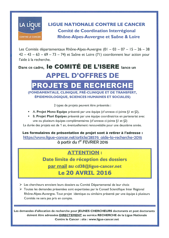Appel d'offres Recherche 2016