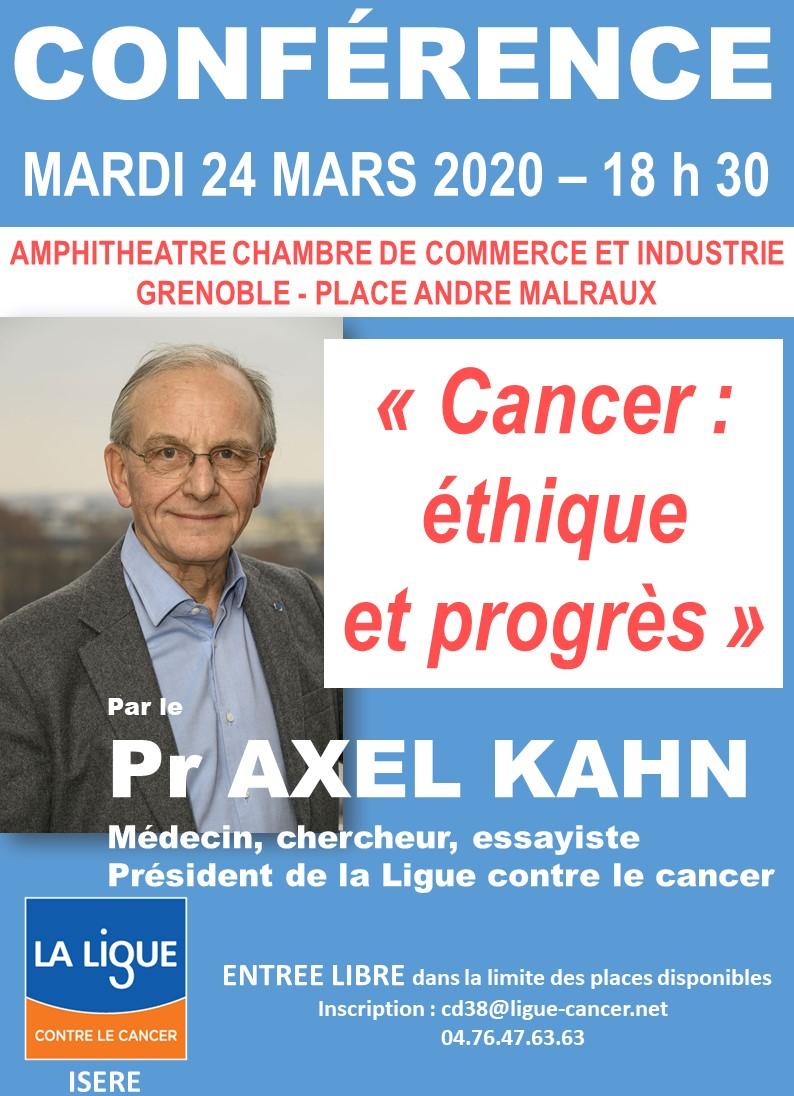 Conférence pr Axel Kahn Cancer Ethique et Progrès