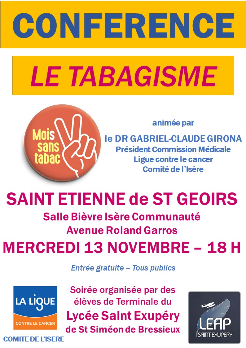 Conférence St Etienne St Geoirs Tabac 13 novembre 2019