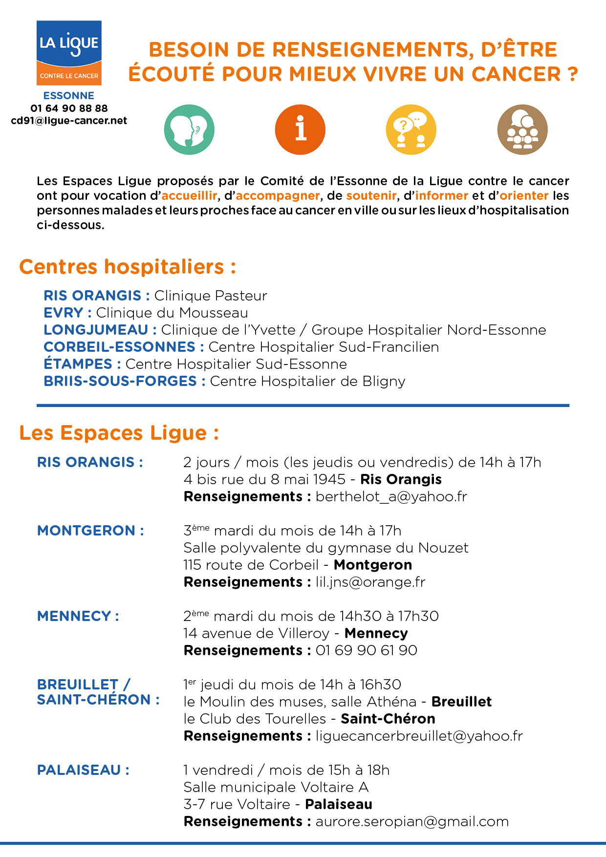 Liste des Espaces Ligue en Essonne