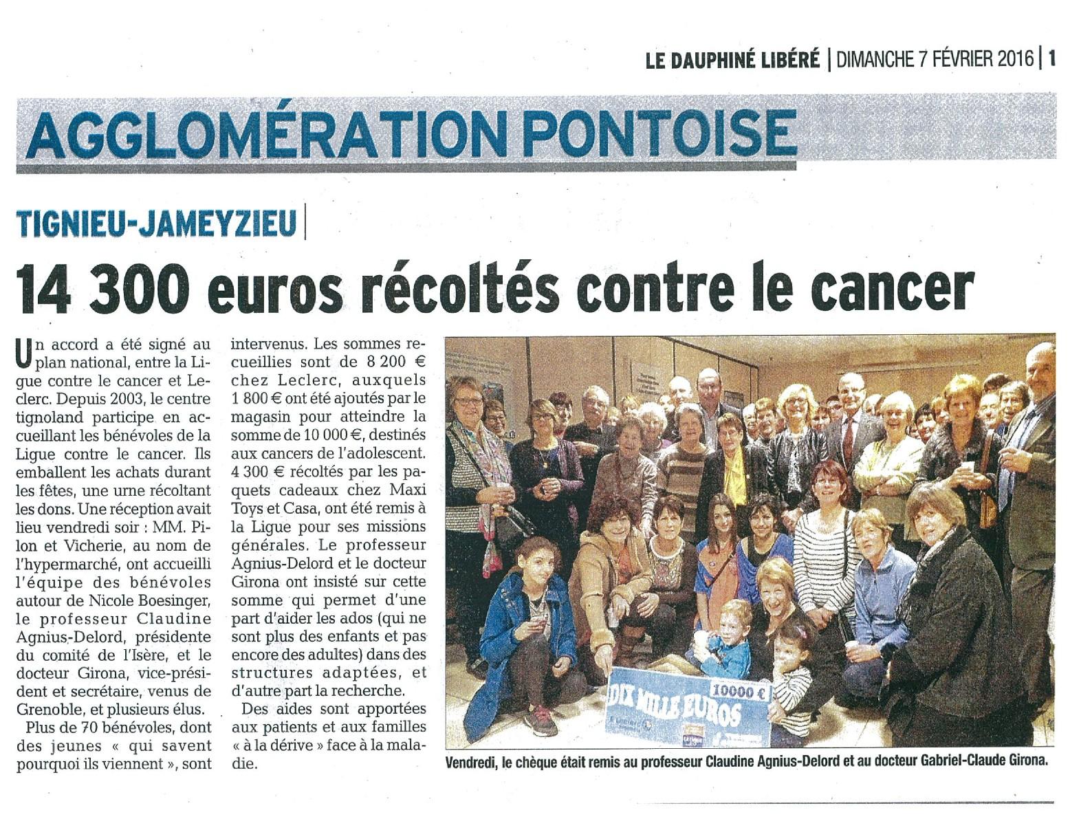 14 300€ récoltés Contre le Cancer