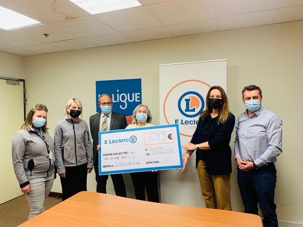 Leclerc Comboire Echirolles remise de chèque Ligue contre le cancer