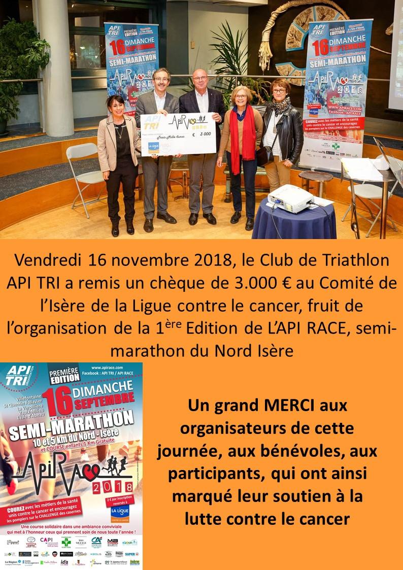 API RACE Remise de chèque Ligue contre le cancer