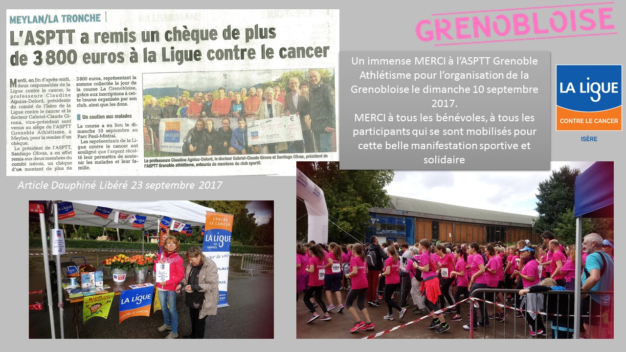 L'ASPTT GRENOBLE ATHLETISME SOUTIENT LA LIGUE CONTRE LE CANCER