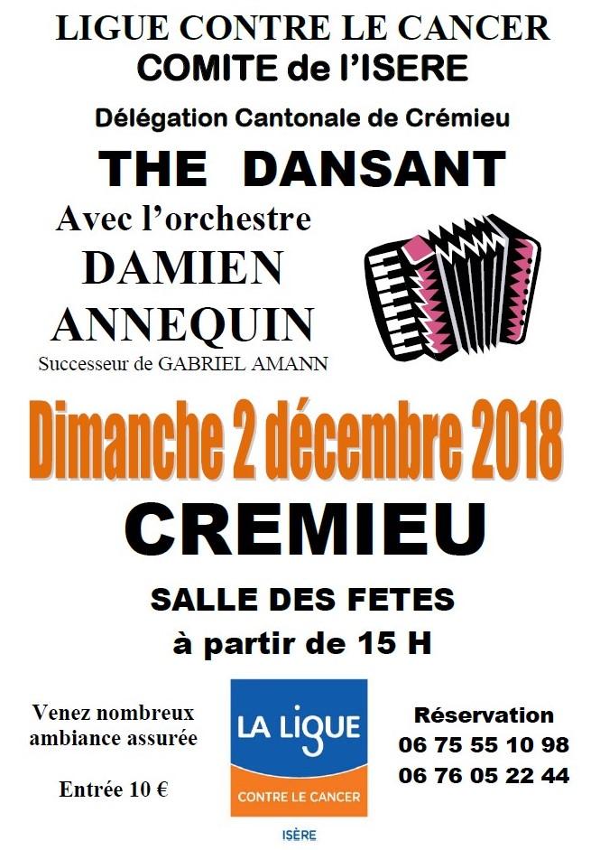 Thé Dansant Crémieu 2 décembre 2018